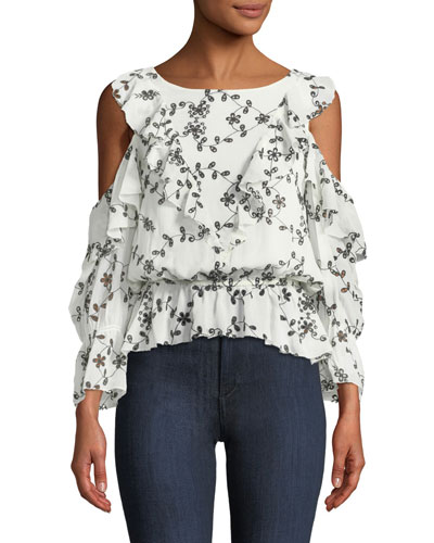 Carlyton Floral-Eyelet Cold-Shoulder Silk Top