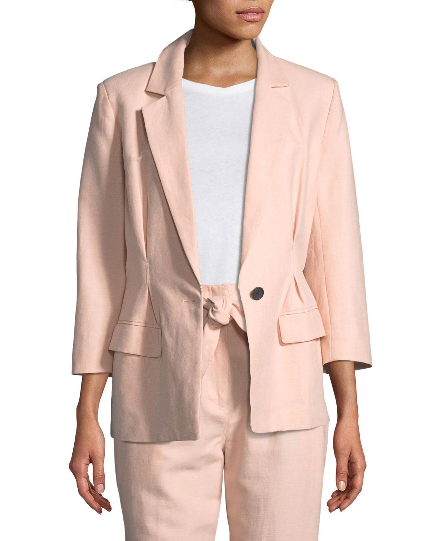Lian One-Button Cotton-Linen Blazer Jacket
