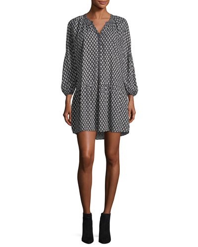 Hagi Long-Sleeve Button-Front Printed Short Dress
