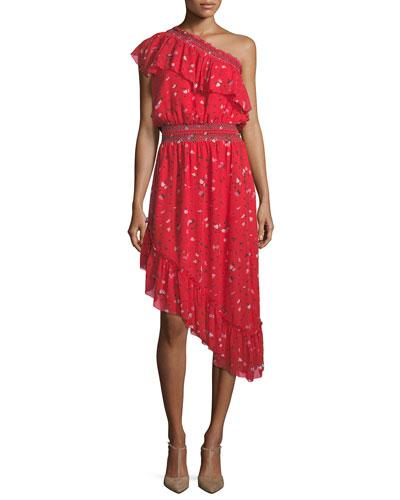 Hafsa One-Shoulder Floral-Print Asymmetric Silk Dress
