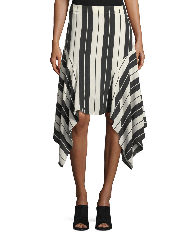 Esha Striped Silk Midi Skirt
