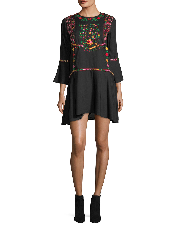 Gosinda Crewneck Embroidered Bell-Sleeve Short Dress