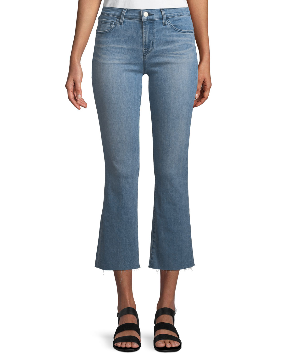 Selena Mid-Rise Raw-Hem Cropped Bootcut Jeans, Patriot