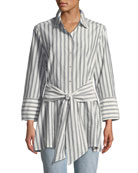 Striped Tie-Front Silk-Blend Shirt