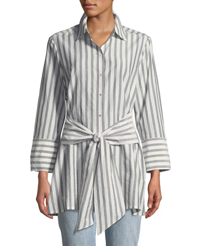 Striped Tie-Front Silk-Blend Shirt, Plus Size