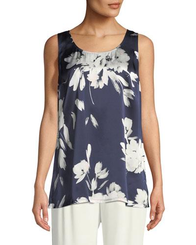 Floral-Print Silk Georgette Tank
