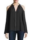 Jahira Cold-Shoulder Zip-Front Blouse