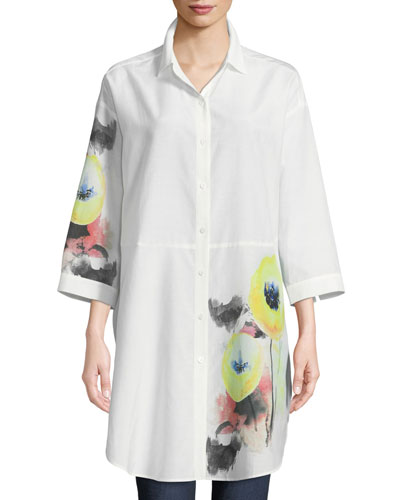 Placed Floral-Detail Blouse, Plus Size