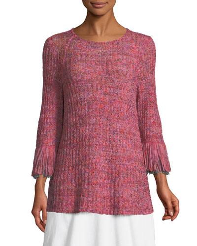 Plus Size Bazaar Fringed-Cuffs Knit Top