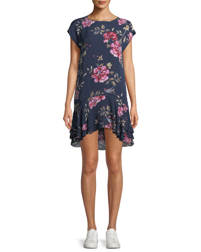 Coreen Round-Neck Floral-Print Silk Shift Dress