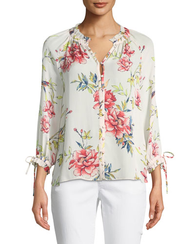 Corsen Button-Front Floral-Print Silk Top