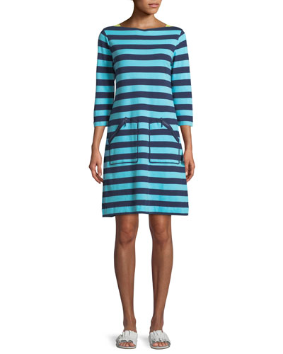 3/4-Sleeve Striped Cotton Shift Dress, Petite