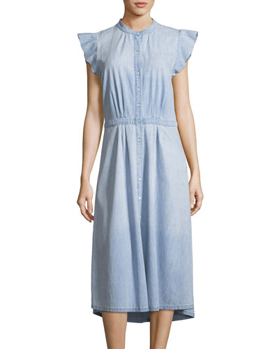 Awel Sleeveless Button-Front Chambray Midi Dress