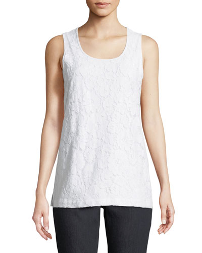 Floral-Lace Layering Tank, Plus Size