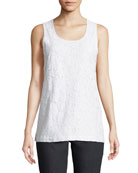 Floral-Lace Layering Tank, Petite