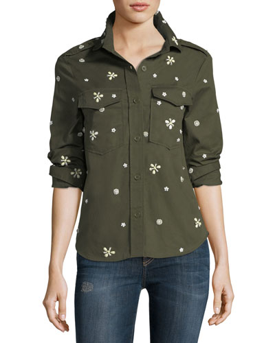 Hayfa Button-Front Long-Sleeve Shirt with Beaded Trim