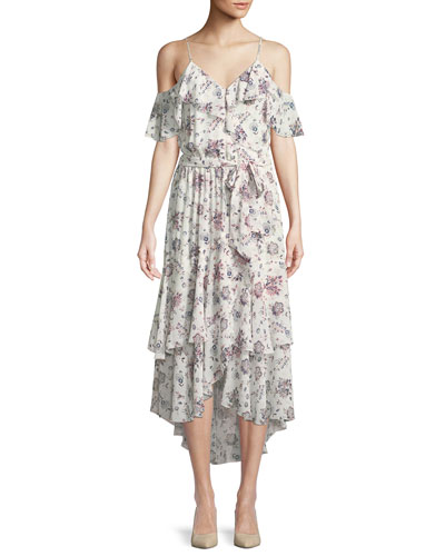 Estilda V-Neck Sleeveless Ruffled Floral-Print Dress