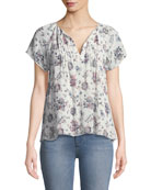 Etaina B Short-Sleeve Floral-Print Silk Top
