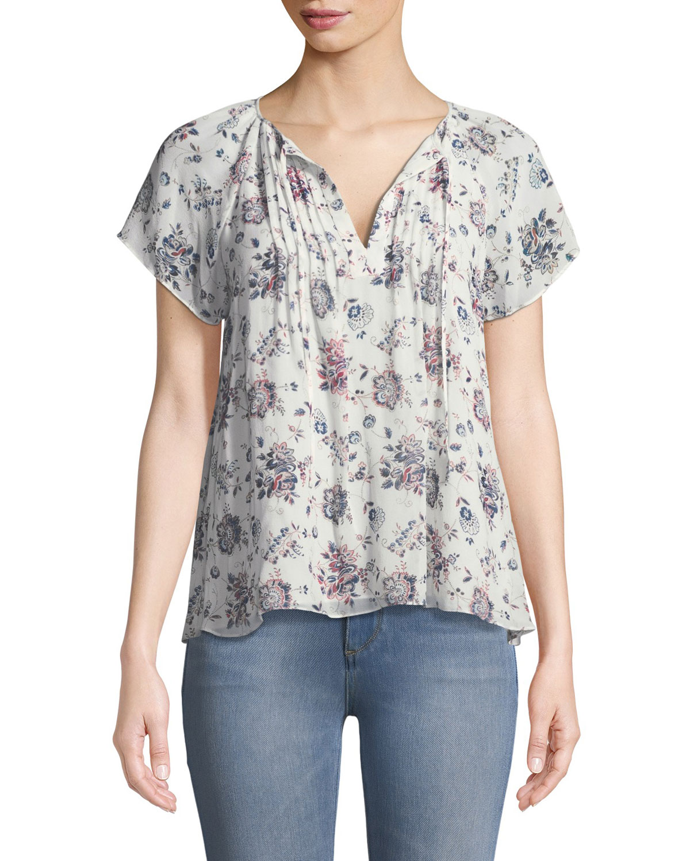 Etaina B Short-Sleeve Floral-Print Silk Top