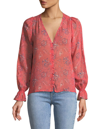 Bolona B Long-Sleeve Silk Button-Front Top