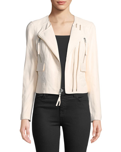 Vivianette Cropped Leather Moto Jacket