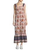 Chisuzu Sleeveless Multi-Printed Cotton Maxi Dress