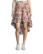 Clarke Floral Cotton High-Low Skirt