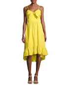 Clorinda Ruffle-Hem High-Low Cotton Sun Dress