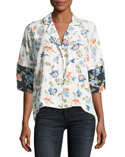 Desmonda 3/4-Sleeve Floral Silk Top
