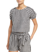 Cirila Short-Sleeve Gingham-Print Cotton Top