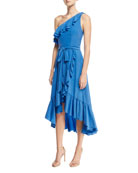Damica One-Shoulder Wrap Silk Midi Dress with Ruffled Frills