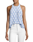 Brighton E Sleeveless Silk Racerback Top