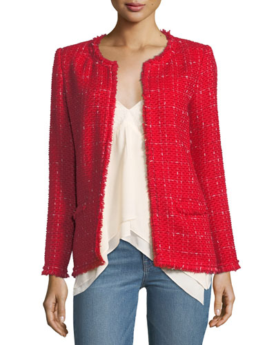 Quespo Open-Front Tweed Jacket