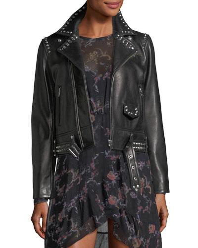 Guara Zip-Front Studded Moto Jacket
