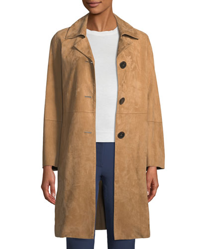 Piazza Button-Front Suede Coat