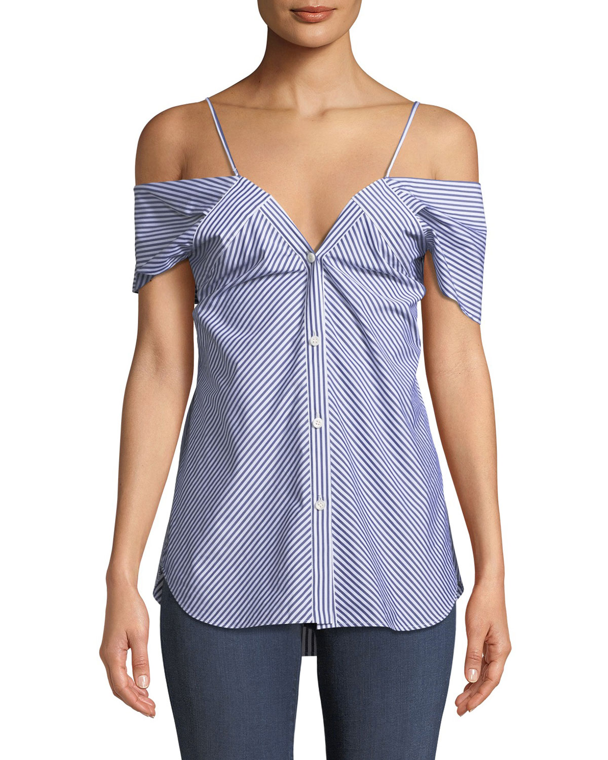 Off-the-Shoulder Button-Down Hartman Stripe Blouse