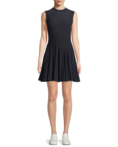 Novelty Checker Knit Sleeveless Short Dress