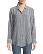 Essential Button-Front Striped Silk Shirt