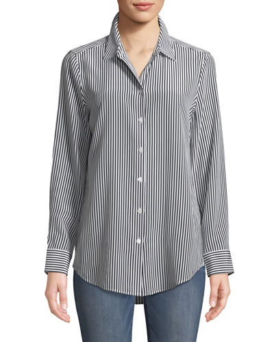 d5bdd746e8f34 Quick Look. Equipment · Essential Button-Front Striped Silk Shirt