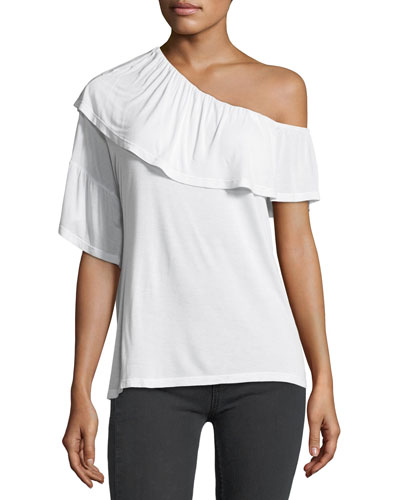 Pax One-Shoulder Ruffle Jersey Top