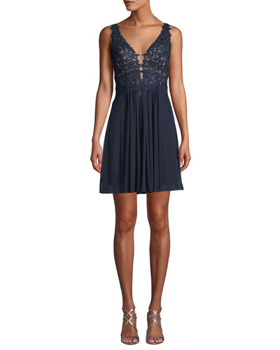 Embellished Lace Mini Cocktail Dress w/ Mesh Skirt