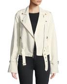 Rhoda Zip-Front Twill Moto Jacket
