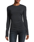 Crewneck Long-Sleeve Travel Jersey Ruched Shell