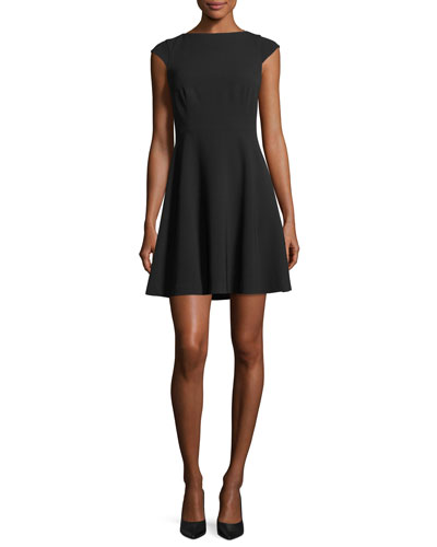 Cap-Sleeve Tieback Admiral Crepe Mid-Thigh Dress