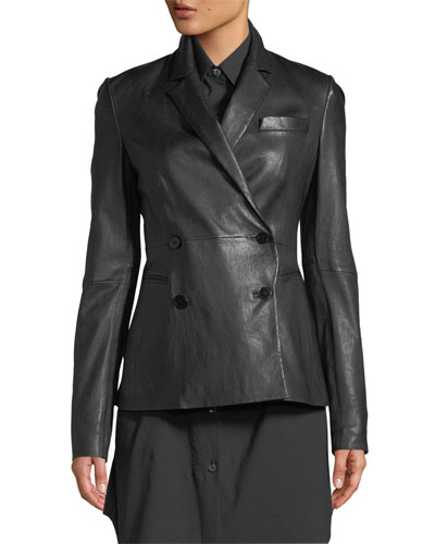 Double-Breasted Bristol Leather Blazer