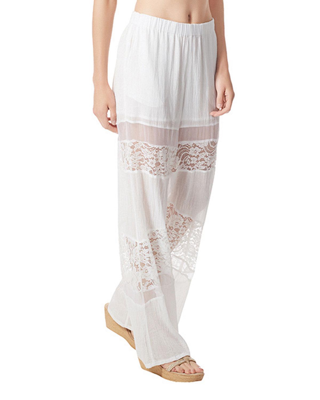 Amour Wide-Leg Cotton Gauze Coverup Pants with Lace Trim