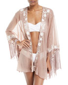 Azmara Open-Front Embroidered Mesh Kimono Coverup, One Size