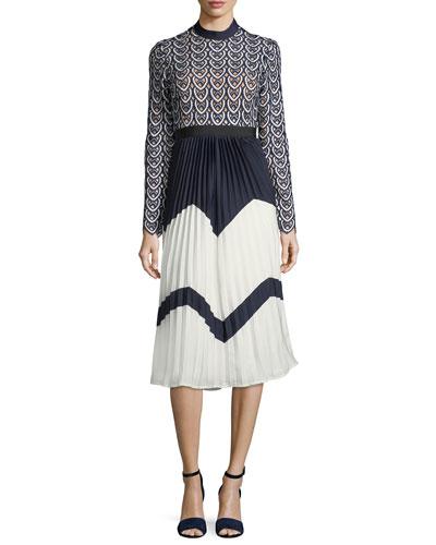 Sweetheart Long-Sleeve Crochet-Lace Midi Dress