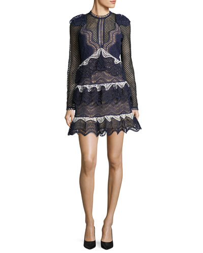 Wave-Guipure Lace Mini Cocktail Dress