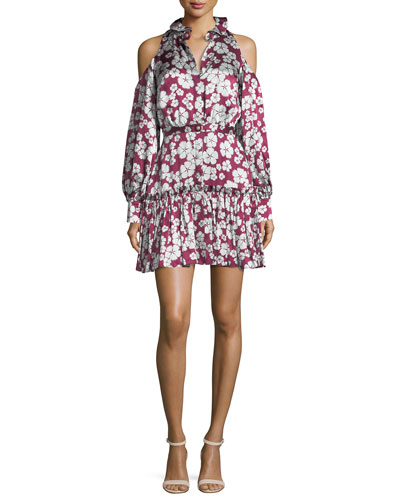Audrina Floral-Print Cold-Shoulder Dress